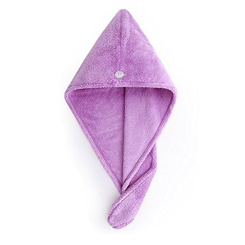 UKEY Mikrofaser Handtuch, Haar-Turban, Super saugfähiges Handtuch für Kinder und Erwachsene für langes und kurzes Haar, reduzieren Sie die Trocknungszeit violett