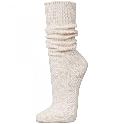 PAULGOS Trachtensocken Trachtenstrümpfe Socken Kniestrümpfe mit Zopfmuster in 3 Farben Gr. 39-47, Farbe:Weiss, Schuhgröße:43