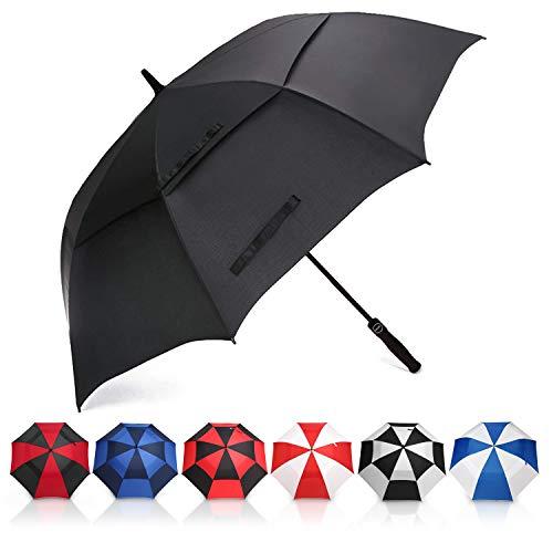 Eono by amazon - ombrello da golf aperto automatico, 62 inch, large golf umbrella, ombrello grande, disegno antivento super resistente, umbrella di viaggio con custodia impermeabile, nero