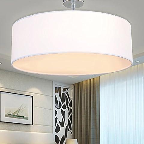SPARKSOR Ceiling Light in Chrome matt, Fabric Drum Shade Gray Pendant Light for living room Bedroom Kitchen Dining room Warm white,Ø50xH21cm 180W