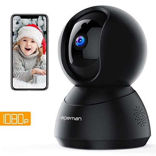 apeman fhd 1080p telecamera di sorveglianza wifi, videocamera ip interno,visione notturna a infrarossi, audio bidirezionale, baby per monitor, sensore di movimento, compatibile ios/android
