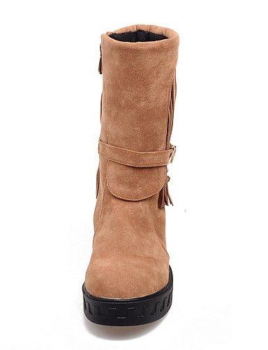 ShangYi Mode Frauen Schuhe Damenschuhe Plattform Runder Halbstiefel Kleid mehr Farben verfügbar Mandel