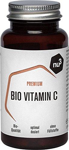 nu3 Premium Bio Vitamin C – 120 Kapseln | Premium Bio Vitamin C | 120 Kapseln | hochdosiert mit Langzeitwirkung | ohne Füllstoffe & Gelatine | besonders rein | einfach in der Anwendung | Vegan