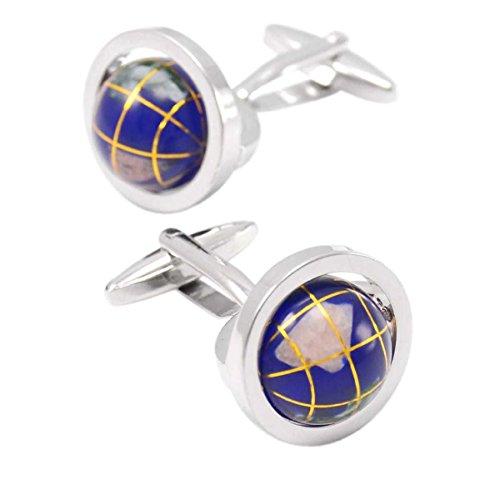 Weltkarte Globus Manschettenknöpfe Männer Französisch Hemd Manschetten Geschäft Retro Klassiker Elegant,Blue-M (Edelstein-globen)