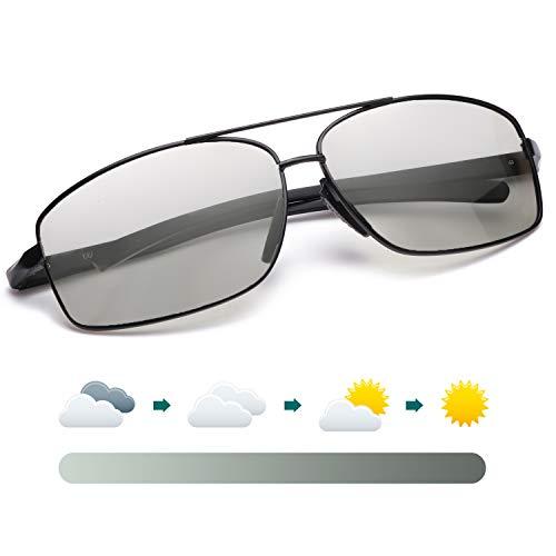 LVIOE Sonnenbrille Herren, Photochromes Linse Polarisierte 100% UVA & UVB Schutz, Metallrahmens für das Fahren Angeln Outdoor-Aktivitäten