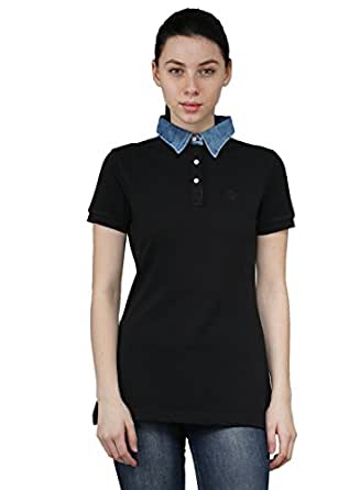 Chkokko Three button Half Sleeves tshirtz Black Denim Collar Cotton T shirt Regular Fit polo t tshirt for women
