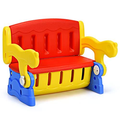 COSTWAY 3 in1 Kinder Sitztruhe, Kindertisch mit Stuhl, Sitzbank für Kinder, Kinderbank Kindersitzgruppe Kindermöbel mit Truhe, kippbar, Rot - Sitzbank Rot, Outdoor