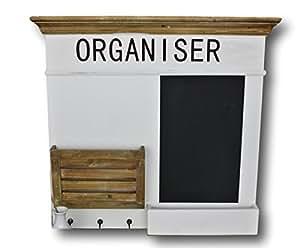 elbmöbel.de Tableau mémo/organisation en bois Blanc/marron Aspect shabby chic maison de campagne Avec vide-poche et rack à journaux