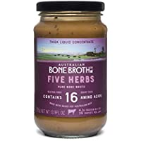5 Herb Bone Broth Concentrate - New 375 gram Jar - Premium Bone Broth + Italian Herbs + Collagen Peptides- Improve your well being, joint + bone health- 37 Serves- Made in Australia