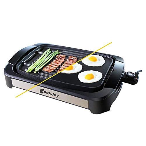 Tischgrill Elektrisch, Zweiseitiger Barbeque Tischgrill, Elektrische Antihafte Grillpfanne mit Abnehmbare Umkehrbare Platte, 1800 W, Einstellbare Temperatur