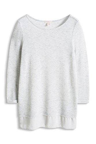 ESPRIT Damen T-Shirt 046ee1k018 - im Materialmix Grau (LIGHT GREY 5 044)