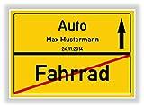 Geschenkidee zum bestandenen Führerschein - Fahranfänger - Auto - Fahrrad Ortsschild personalisiert mit Name und Datum