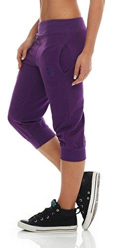 Gennadi Hoppe Damen 3/4 Trainingshose Sporthose Kurze Hose Sport Fitness Jogginghose Shorts Barmuda, lila,M