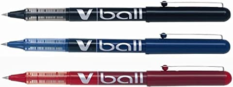 Pilot V-Ball 0.5 Liquid Ink Rollerball Pen Wallet of 3 - Assorted Colours