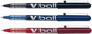 Pilot V-Ball 5 Pochette de 3 Rollers à encre liquide Pointe extra fine 0,5 mm Couleurs assorties