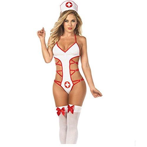 HiMqhy Halloween Kleidung Cospaly groß Halfter Krankenschwester Kleid Frau Rolle spielen Krankenschwester Uniform Weiße und Rote Versuchung Kleidung, L