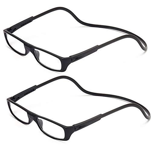 2 Stueck Lesebrille Lesehilfe Schwarz für Herren und Damen +2.0 (55-59 Jahre) Faltbare Einstellbare mit Magnetverschluss und Clip für Alterssichtigkeit und Presbyopie