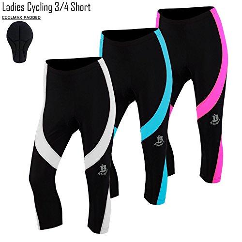 Damen Fahrrad 3/4Shorts Bike Strumpfhosen Drei Viertel Fahrrad Legging Frauen Shorts Alle Größen, damen, weiß (Bike-shorts-leggings-strumpfhosen)