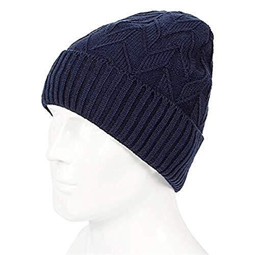 FENGLINZEKANG Strickmütze, einfarbige elastische Slouchy Knit Soft Hat (Color : Navy, Größe : M) (Top Knit Jacquard)