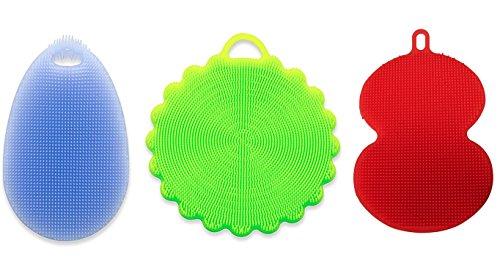SpülWunder Silikonschwamm und Fusselbürste drei Formen in drei verschiedenen Farben