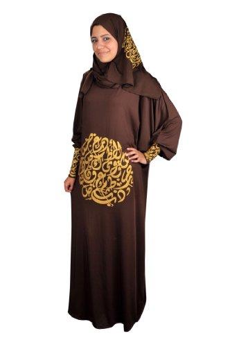 Isdal Abaya Gebetskleid mit arabischer Kalligrafie in goldfarbe Islamische Kleidung, Farbe: braun...