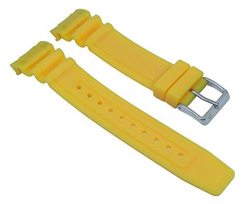 Ersatzband Uhrenarmband Kunststoff Gummi Band gelb passend zu Citizen Promaster Taucheruhr BN0100 28