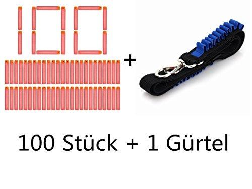 Yosoo niños de juguete 7,2 * 1,2 cm Orange dardos de la bala con una correa de hombro ajustable Bandolier Kit NERF N-Strike Elite Blaster (1 cinturón + 100 pedazos dardos)