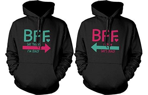 BFF accesorios BFF Pullover Sudaderas–Sudaderas con capucha para CRAZY y letras BFF mejores amigos -  negro -  izquierda-Large / derecho-X-Small