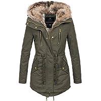 Navahoo Warme winterjas voor dames, lang, teddybont, winterjas, parka, mantel B648.