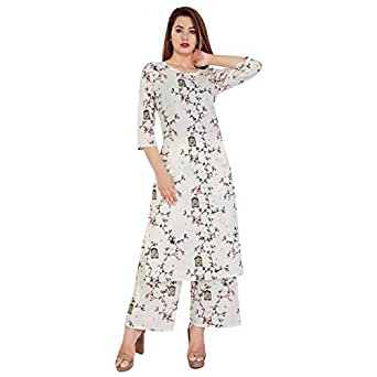 Meera Fab Women's Cotton Printed Kurti with Palazzo Off-White