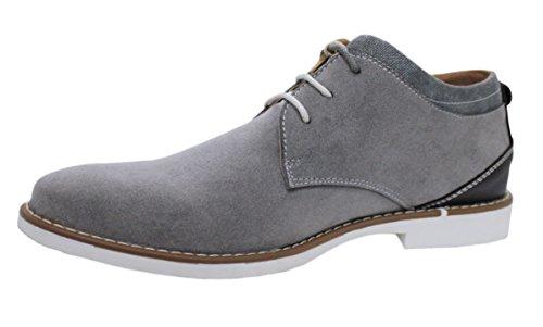 Scarpe polacchine uomo casual grigio scamosciate artigianali man's shoes (43)