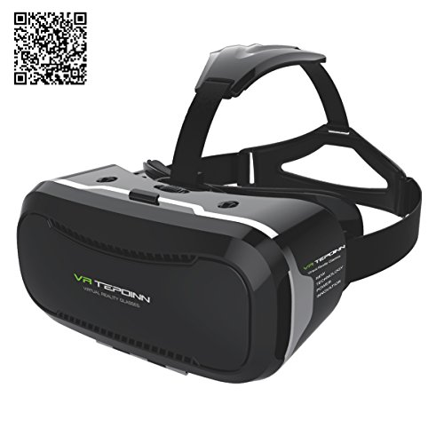[Zweite Generation] Tepoinn 3D VR Virtual Reality Brille Headset mit verstellbarem Kopfbügel für 4,5-5,7 Inch Google, iPhone, Samsung Note, LG Nexus, HTC, Moto Smartphones