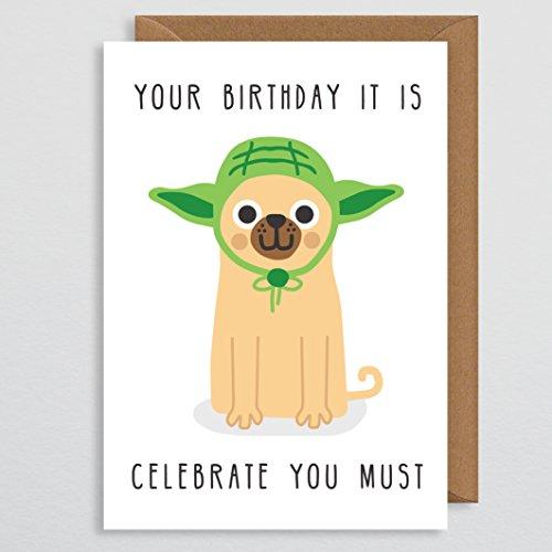 Geburtstagskarte Ehemann - Geeky - Science Fiction - Feiern Sie müssen - Nerdy - Mops Geburtstagskarte - Mops Geschenke - lustig - niedlich - Hundekarte - für ihn - Vater - Freund - Jungen