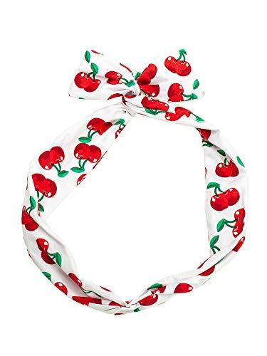 SETRINO Haarband weiss rote Kirschen Draht als Haarschmuck Kopfband Pinup 50er Rockabilly