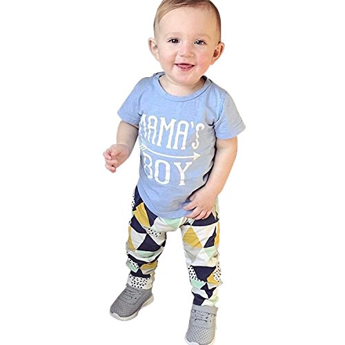 De feuilles sommer Jungen Bekleidungsset Mama's Boy Kurzarm Blau Buchstaben Pfeil Geometrische Muster Männlichen Baby Zweiteiler T Shirt Dreieckdruck Freizeithose (Baumwolle Pfeil Shorts)