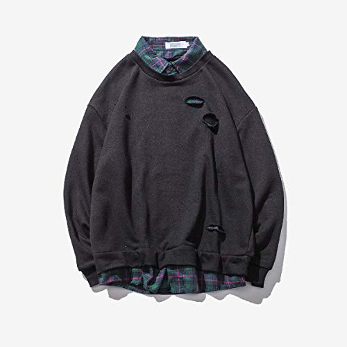 Big And Tall Cotton Pullover (CuteRose Men Big and Tall Plaid Leisure Patchwork Back Cotton Sweatshirt Black XS)