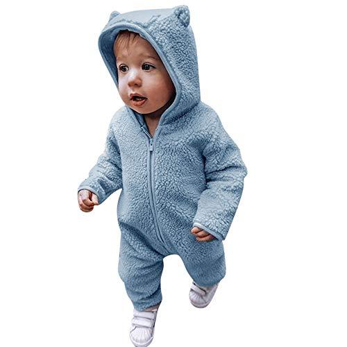 Beikoard Baby Mädchen Jungen Langarm Flauschigen Kapuzen-Overall Spielanzug Outfits Winterwarmer Overall Babykleidung Baby Neugeborenes Kleidung