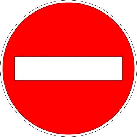 Autocollant sticker porte portail route chemin sens interdit panneau