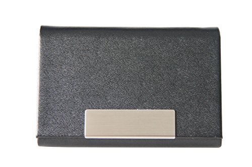 Visitenkartenetui schwarz K.DESIGNS – aus hochwertigem Kunstleder , gebürstetem Edelstahl , Magnetverschluss , Visitenkartenhalter , Visitenkartenbox