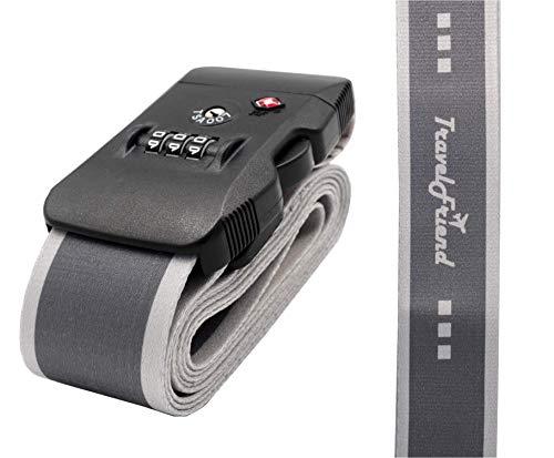 TravelFriend Kofferband - TSA Koffergurt mit Zahlenschloss - Gepäckgurt - Gepäckband - robust und längenverstellbar für sicheres Reisen weltweit (Tsa Gepäckgurt)