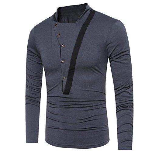 "Kaiki Männer Casual ""V"" geformt Patchwork T-Shirt Langarm Button Top Bluse Gray"