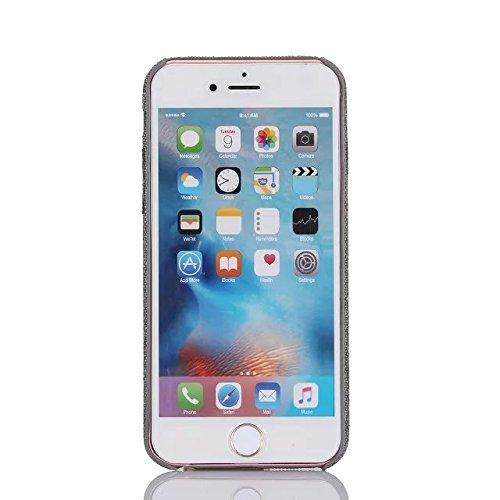 MERES Premium Denim tissu de style vérifie mince cas de protection, doux tissu de coton arrière cas pour iPhone 7 plus- gris