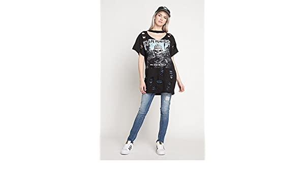 ac514743de65 Iron Maiden T-Shirt Oversized Distressed Ripped with Holes T Shirt Dress T  Shirt Short Sleeve Cut Out Neck - Black -  Amazon.co.uk  Clothing