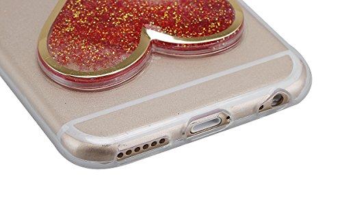 Ukyfe iPhone 5C Custodia protettiva ,Trasparente con Brillantini Liquidi TPU Case Cover in silicone / gel TPU Shock-Absorption Bumper e anti-graffio ,Clessidra a Forma di Cuore 4D Design Disegno Grati scarlatto 1#