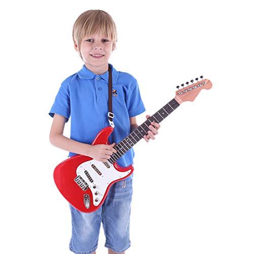 MRKE Guitarra Electrica Niños 67cm 6 Cuerdas Rock Juguete de Instrumentos Musicales Guitarra Regalo para Infantil Niño y Niña 3-8 Años