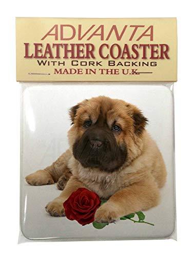 Shar Pei Hund mit roten Rose Single Coaster Weihnachtsstrumpf-Füller Geschenk (Rote Single Rose)