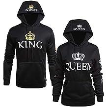 Sudadera King Queen Hombre y Mujer Camisetas para Parejas Manga Larga con  Capucha y Bolsillo Swag f50ae3b930b