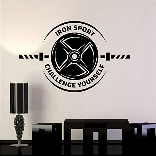 Wuyyii 58X37 Cm Vinyl Wandtattoo Eisen Sport Motivation Zitat Muscle Gym Aufkleber Kunst Dekor Wohnkultur Wohnzimmer Modernes Design Wandaufkleber