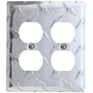 AmerTac 955DD Amerelle Garage Collection Diamond Plate Aluminum 2 Duplex Outlet Wallplate, Stamped Aluminum