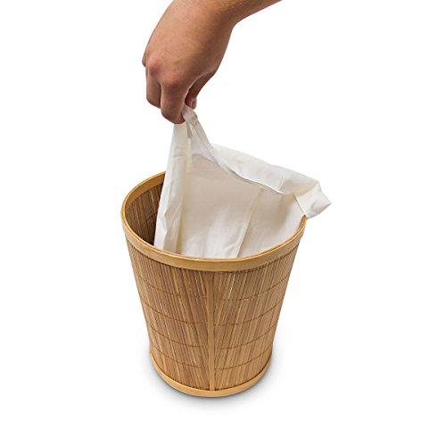 Papierkorb aus Bambus mit Stoffeinlage - 5